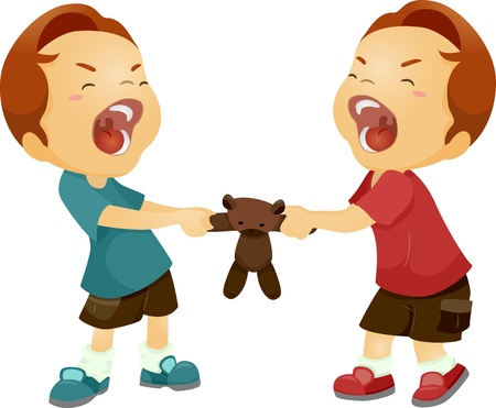 sibling rivalry: Illustration of Twin Boys Fighting Over a Stuffed Toy Stock Photo