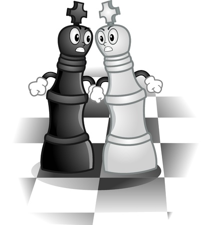 enemies: Mascot Illustration of a Pair of Kings Fighting on a Chess Board Stock Photo