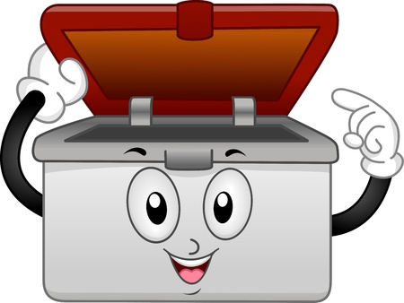 food storage: Mascot Illustration of a Pastic Container Pointing its Contents