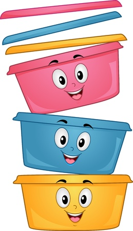 food storage: Mascot Illustration of a Stack of Plastic Containers Smiling Happily
