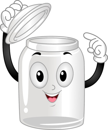 anthropomorphic: Mascot Illustration of an Empty Glass Canister Poiting at Itself Stock Photo