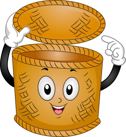 anthropomorphic: Mascot Illustration of a Basket Bin Pointing to Itself