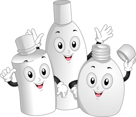 productos de aseo: Ilustración de la mascota de botellas de tocador Waving Felizmente Foto de archivo