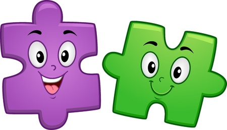 cartoon mascot: Mascot Illustration of a Pair of Jigsaw Puzzle Pieces Smiling Happily