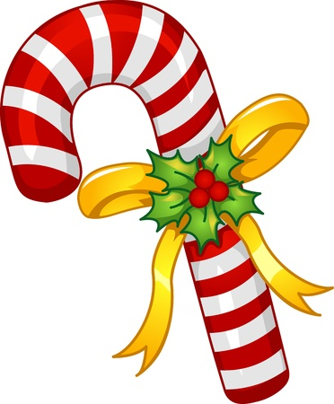 wrapped around: Mascot Illustration of a Candy Cane with a Poinsettia Wrapped Around it