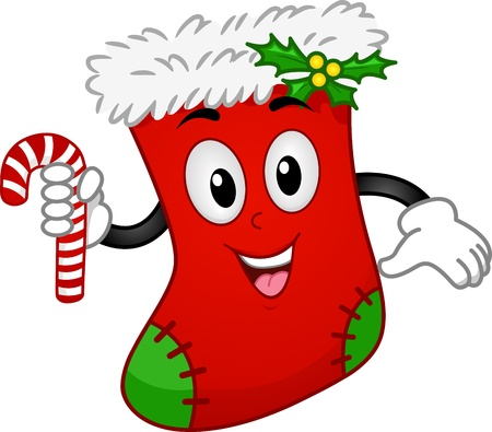 yule: Mascot Illustration of a Christmas Sock Holding a Candy Cane