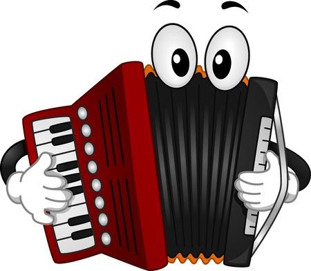 accord�on: Illustration mascotte d'un accord�on appuyant sur les touches de son clavier Banque d'images