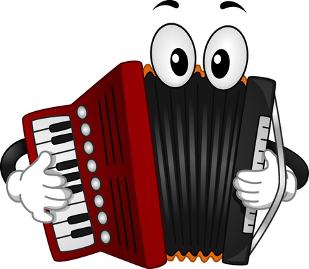 acorde�n: Ilustraci�n de una mascota de Acorde�n pulsar las teclas de su teclado