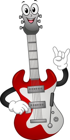 cartoonize: Mascot Illustration of an Electric Guitar Stock Photo
