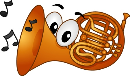 cartoon mascot: Mascot Illustration Featuring Musical Notes Coming from the Mouth of a French Horn