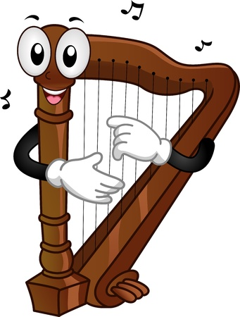 cartoon mascot: Mascot Illustration of a Harp Plucking its Strings