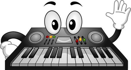Mascot Illustration of an Electronic Keyboard Waving illustration