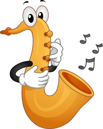 cartoon mascot: Mascot Illustration Featuring Musical Notes Coming from a Saxophone Stock Photo