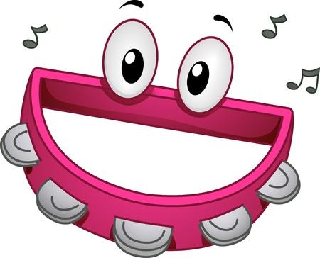 pandero: Ilustración de una mascota Tambourine sonriendo feliz Foto de archivo