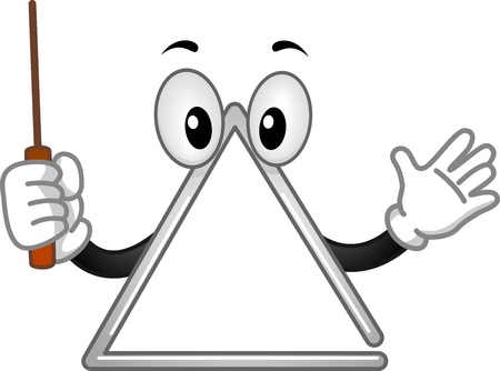 Mascot Illustration of a Triangle Holding a Metal Beater illustration