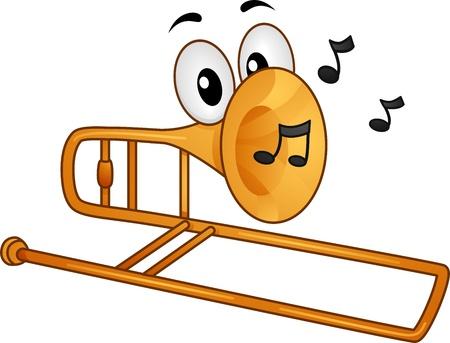 trombon: Ilustración Mascot Con Notas Musicales en boca de un trombón