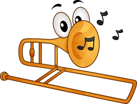 cartoon mascot: Mascot Illustration Featuring Musical Notes Coming from a Trombones Mouth Stock Photo