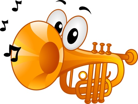 anthropomorphic: Mascot Illustration Featuring Musical Notes Coming from a Trumpets Mouth