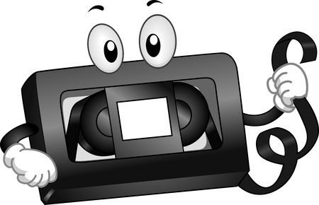 Mascot Illustration of a VHS Tape Holding a Strip of Magnetic Tape illustration