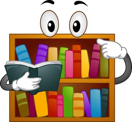 leccion: Mascot Ilustración de una estantería Leyendo un libro Foto de archivo