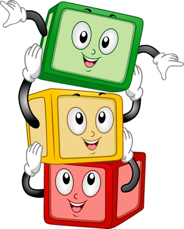 building materials: Mascot Illustration of a Stack of Building Blocks Stacking Themselves Together