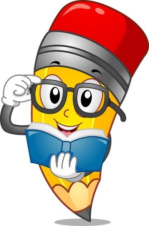 libro caricatura: Mascot Ilustración de un lápiz que lee un libro