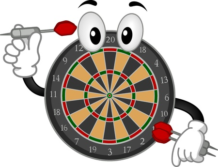 anthropomorphic: Mascot Illustration of a Dartboard Holding a Dart