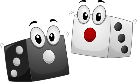 probability: Mascot Illustration of a Pair of Dice in Black and in White