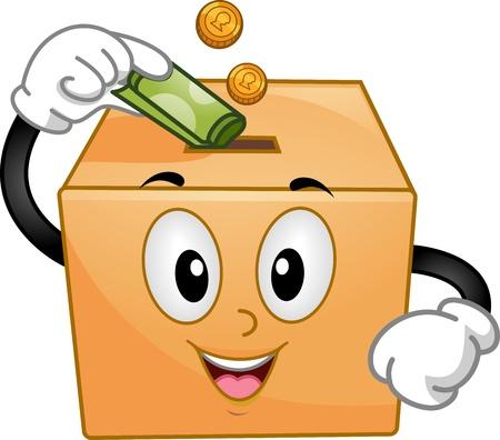 limosna: Mascot Ilustración de una caja de donación Inserción de monedas y un billete