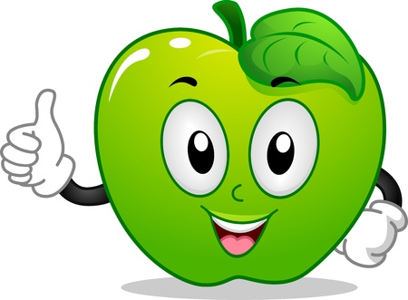 manzana caricatura: Ilustración de la mascota de una manzana verde dando un pulgar hacia arriba Foto de archivo
