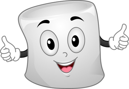 wide open: Mascot Illustration of a Marshmallow with Arms Wide Open