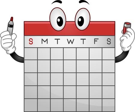 cronograma: Mascot Ilustración de un calendario de la oficina que sostiene un marcador