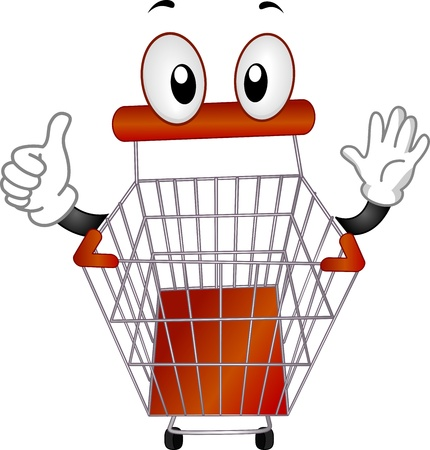 pushcart: Mascot Illustration of a Pushcart Giving a Thumbs Up Stock Photo