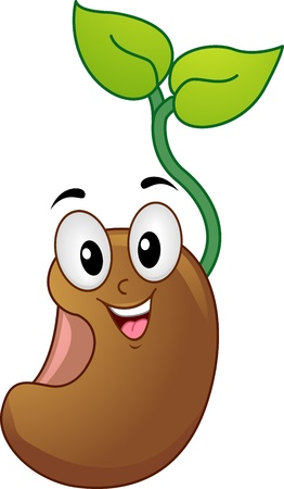 cartoonize: Mascot Illustration of a Seedling Smiling Happily Stock Photo