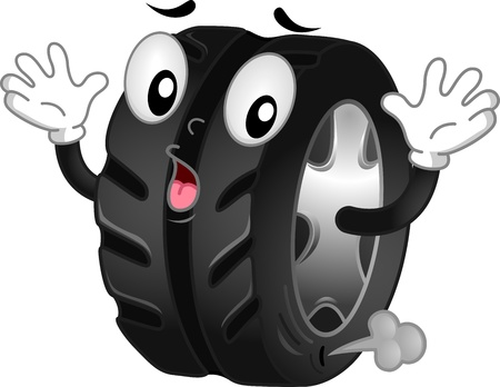 panicky: Mascot Illustration of a Shocked Flat Tire with Air Leaking Out Stock Photo