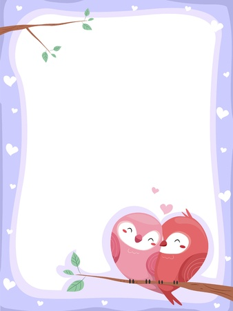 Background Illustration of Lovebirds perched on a branch of a tree with hearts on the border illustration