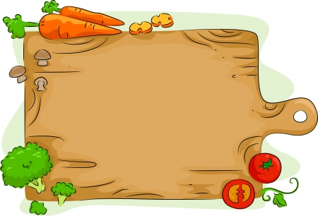 cartoon food: Background Illustration of a Wooden Chopping Board with Vegetables
