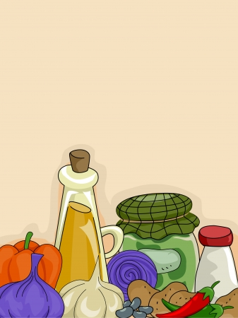 condiments: Background Illustration of Condiments and Vegetables