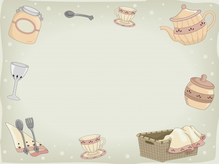 country kitchen: Background Illustration of Country Kitchen Utensils