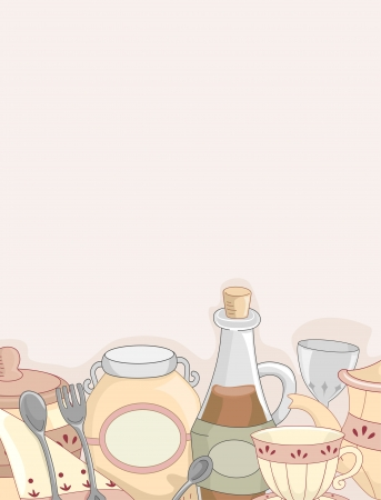 country kitchen: Background Illustration of a Country Kitchen Utensils
