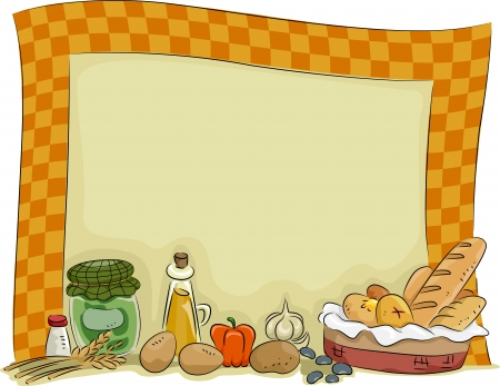 cocina caricatura: Background Ilustración de una cocina del país con condimentos y elementos esenciales de cocina