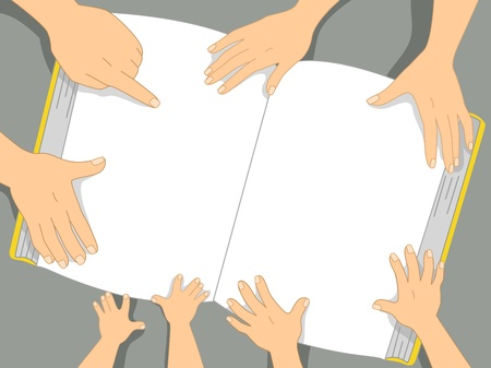 reading materials: Background Illustration of Family Hands touching a book