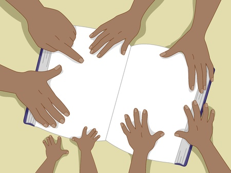 reading materials: Background Illustration of Black Family hands touching a book