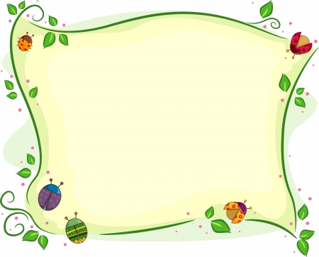vine border: Background Illustration of Ladybugs and other beetles with vines