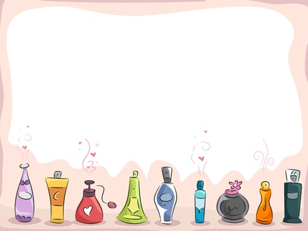 eau: Background Illustration of Different Kinds of Perfume with copyspace