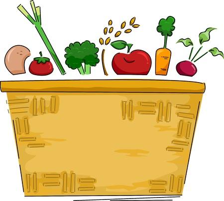 canasta de frutas: Background Ilustraci�n de una cesta de frutas y hortalizas Foto de archivo
