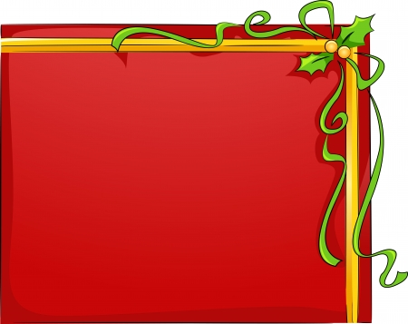 Background Illustration of Christmas Board with Holly Leaves and Ribbons illustration