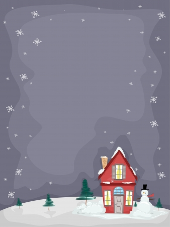 Backgroud Illustration of Christmas House with Snowman illustration