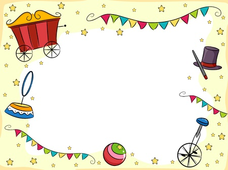 circus caravan: Background Illustration of Circus Items with Fiesta Banners and Stars Stock Photo