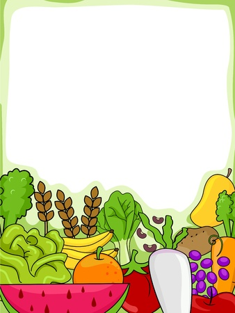 fruit clipart: Background Illustration of Fruits and Vegetables